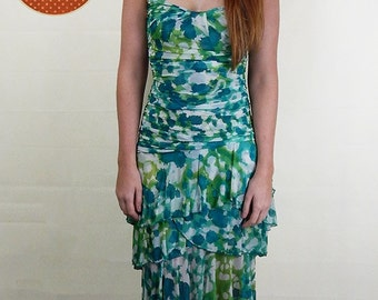Original Vintage Diane Von Furstenberg Green Silk Dress UK Size 10
