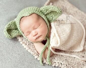IN STOCK Newborn Yoda hat, Star wars hat, Baby Yoda hat, Yoda bonnet - Photography prop