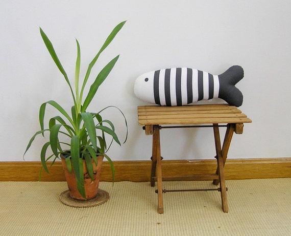 Accent Pillow Fish Dark Gray Decorative cushion hand screen-printed Decorative Throw pillow  Decorative pillow handprinted Olula Kids room
