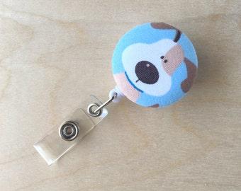 Retractable Badge Reel Holder - Blue Dog