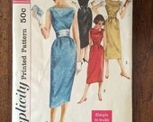 2144 Vintage Wiggle Dress Sewing Pattern Simplicity 2144 Bust 33