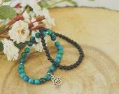 Hamsa Bracelet Charm Stack // Turquoise