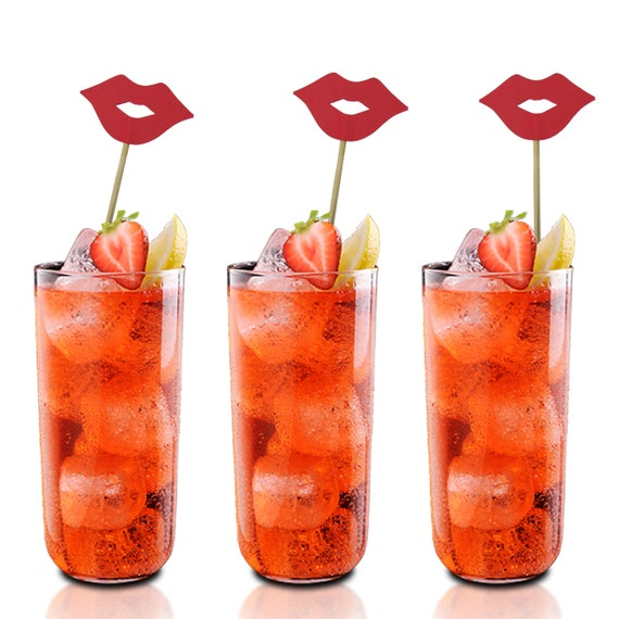 Red Lips Drink Stirrers, Cupcake Toppers, Cake Toppers ...