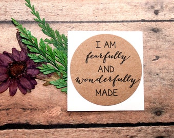 Psalm 139: 14 Stickers, I am Fearfully and Wonderfully Made, Christian Sticker