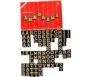 Vintage Letters Set Anagrams 1940's Anagrams Embossed Letter Game, Halsam 90 Pieces Complete Set