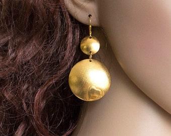 Long Gold Dangle Earrings Disk Earrings Gold Earrings Handmade Earrings Modern Earrings Big Disk Earrings