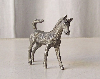 Vintage Pewter Horse Figurine Stallion Miniature Pewter Horse 1990s
