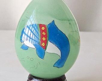 Vintage Glass Egg Églomisé Hand Painted Whale Easter Egg Gift Oriental Art Vintage 1980s