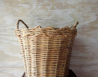 Vintage Wicker Gathering Basket with Handles Deep Woven Basket