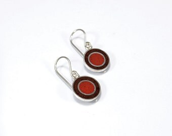 Sterling Silver Earrings, Brown Circles, Autumn Colors, Fun, Modern, Contemporary