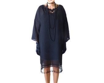 Black Flapper Dress Costume 1920s Roaring 20s Kimono Black Chiffon Black Maxi Plus Oversized Long sleeve Casual Day Plus size clothing