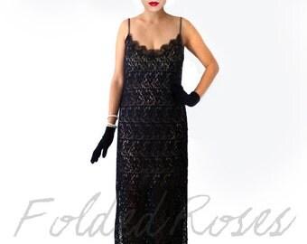 Retro Black 1920s Dress, Great Gatsby Dress, Flapper Dress, Shift Dress,Roaring 20s Dress,Downtown Abbey Dress,Retro Lace Dress,Long Dress