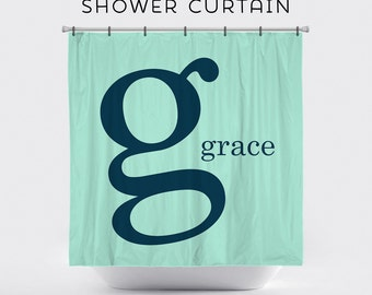 Shower Curtain Personalized By the Letter