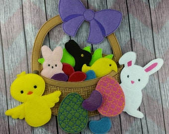 Build An Easter Basket Play Set, Learning Game, Easter basket filler, Spring holiday stuffer, play food felt candy