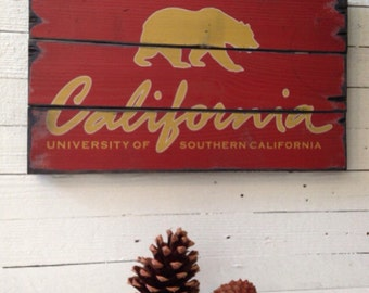 University Of Southern California, Handcrafted Rustic Wood Sign, Mountain Decor for Home and Cabin, 3142