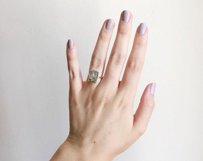 Prehnite Cabochon Ring in sterling silver - sterling silver prehnite ring