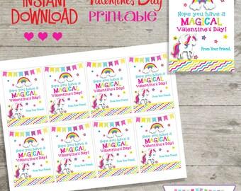 Valentine Unicorn - Printable Valentine's Day Cards - INSTANT DOWNLOAD