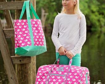 Monogrammed Duffle Bag, Personalized Duffle Bag, Kids Duffle Bag, Dance Bag, Sleepover Bag, Travel Bag, Sister Bag, Girls Duffle Bag, Whales