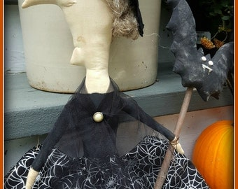 Primitive Halloween WItch, Primitive witch, primitive bat, prim witch and bat, primitive halloween, prim halloween, primitive fall, fall,
