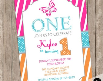 Butterfly birthday invitation, butterfly 1st birthday invitation, girl butterfly birthday invitation, magenta, orange, teal