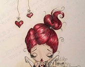 Digi Stamp Digital Instant Download Big Eye Girl ~ Bonnie Bookworm Image No. 24 & 24B by Lizzy Love