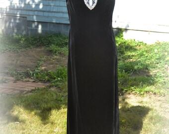 Vintage Black Velvet Beaded Fromal Gown Dress - S