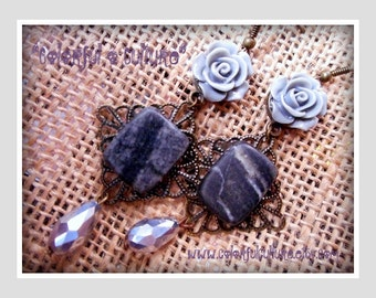 Gray Resin Roses, Natural Stone and Crystal Drop Beads- Mexican Earrings / Jewelry by Laura Gomez