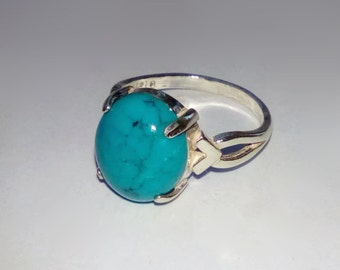Natural Turquoise In Sterling Silver Ring, 3.4ct. Size 6