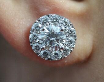 14k white gold diamond halo earring studs.