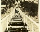 "Vintage Photo ""Dramatic Stairs"" Steps Geometric Pattern Snapshot Photo Antique Black & White Photograph Found Paper Ephemera Vernacular - 22"