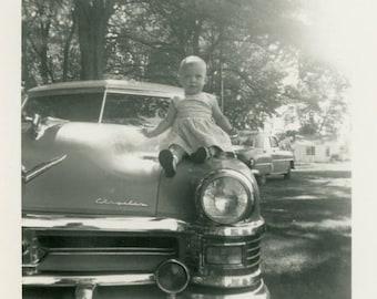 "Vintage Photo ""Cutest Hood Ornament"" Baby Car Snapshot Photo Old Photo Black & White Photograph Found Photo Paper Ephemera Vernacular - 107"