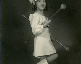 "Vintage Photo ""Little Majorette"" Uniform Costume Snapshot Antique Photo Old Black & White Photograph Found Paper Ephemera Vernacular - 116"