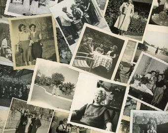 "50 pc - Vintage Mini Photos ""Variety Collection"" Snapshot Old Photo Antique Black & White Photography Paper Ephemera Collectibles - 041515"