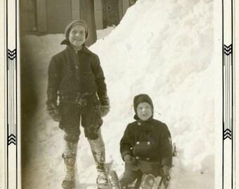 "Vintage Photo ""Enjoying Massachusetts Winter"" Snow Sled Snapshot Old Photo Black & White Photograph Found Paper Ephemera Vernacular - 137"
