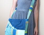 Tie Dye Blue Patchwork Messenger Bag Festival Style