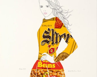 Honor NYC Fine Art Print Fashion Illustration Drawing Contemporary Modern Art Product Design Beer Collage Foodie Supermodel Female Portrait