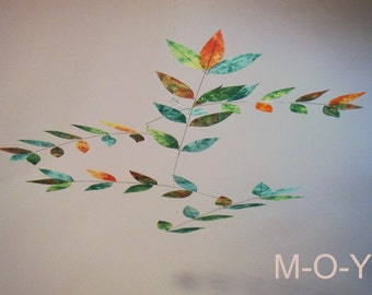 Small Mini Leaf Mobile in Dappled Tie-Dye Colors Nursery Size Mobile