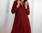 Landlubbers Copper Corduroy Snap Up Dress or Duster Jacket / Fall / Spring Fashion