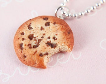 Miniature Food Jewelry - Chocolate Chip Cookie Necklace - Food - Polymer Clay Charm - Cookie Monster - Party Favors