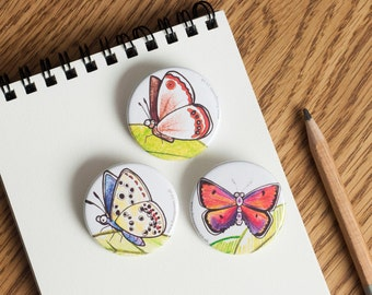 Butterfly Badges - 38mm diameter