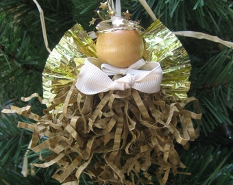 Gold Angel Ornament, Christmas Angel, Tree Ornament, Gold Paper Crimp Angel, Paper Angels, Tree Decor, Angel Collector SnowNoseCrafts
