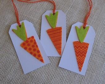 Easter Carrot Gift Tags, Set of 6, Gift Embellishment, Treat Sack, Orange
