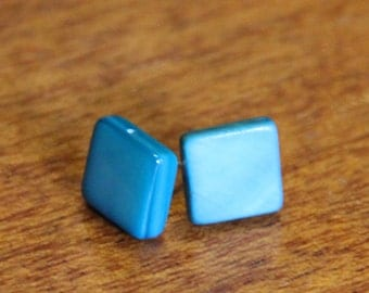 Square earring studs // mother of pearl // turquoise blue // vintage buttons // eco gifts // baby blue