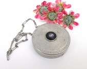 Antique Wrist Compact / Guilloche Compact, Silver Metal Mirror / Flapper Era  – As Is