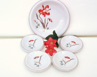Vintage German Dinnerware, Serving Dishes, Bread and Butter Plates, Dessert Plates - Orange Flowers