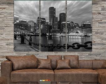 B&W Boston Skyline Canvas Set, Large Wall art of Boston Print, Boston Canvas, Boston Art, Boston Photo, Large Wall art, Boston Harbor