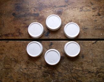 Set of Six Vintage Porcelain Floor Protectors - Furniture Glides