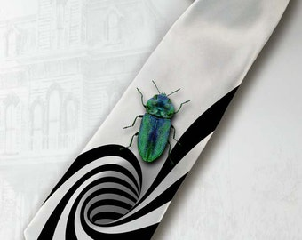 Beetlejuice necktie. Gothic horror necktie.  Tim Burton movie tie.Strange and Unusual tie. Quirky gift tie. Black stripes tie. Vertigo tie.