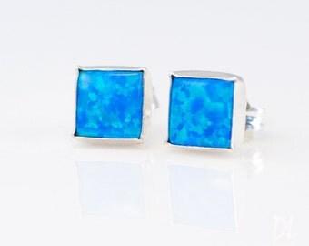 Blue Opal Stud Earrings - Opal Earrings - October Birthstone Studs - Gemstone Studs - Sterling Silver Studs - Tiny Dainty Earrings