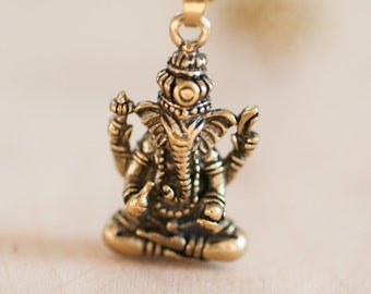 Brass Ganesha Pendant on a Brass Chain Necklace - Hindu God - Statement Necklace - Layering Necklace  Bohemian Boho Hippie Chic